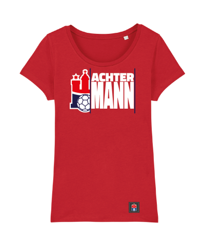 "T-Shirt ""Achter Mann"" Damen in rot"