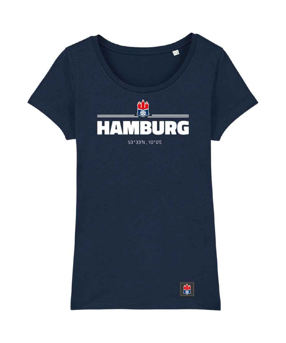 "T-Shirt ""Koordinaten Hamburg"" Damen in navy"