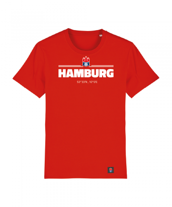 "T-Shirt ""Koordinaten Hamburg"" Kids in rot"